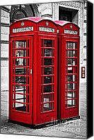 United Kingdom Canvas Prints - Telephone boxes in London Canvas Print by Elena Elisseeva