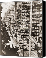 City Streets Photo Canvas Prints - Telephone Wires Over New York, 1887 Canvas Print by Everett