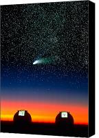 Mauna Kea Canvas Prints - Telescope Domes and Hale-Bopp Comet Canvas Print by David Nunuk