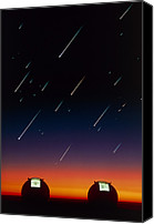 Mauna Kea Canvas Prints - Telescope Domes On Mauna Kea With Meteors Canvas Print by David Nunuk