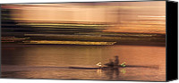 Rowers Canvas Prints - Tempe Town Lake Rowers Abstract Canvas Print by Dave Dilli