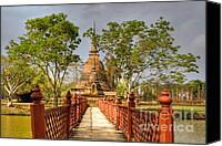 Buddhist Canvas Prints - Temple Bridge Canvas Print by Adrian Evans