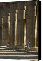 Walked Canvas Prints - Temple Guard Walking Past Columns In Canvas Print by Axiom Photographic