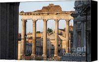 Worth Canvas Prints - Temple of Saturn in the Forum Romanum. Rome Canvas Print by Bernard Jaubert