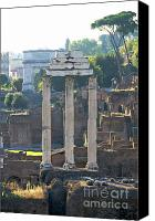 Ruin Canvas Prints - Temple of Vesta Arch of Titus. Temple of Castor and Pollux. Forum Romanum Canvas Print by Bernard Jaubert