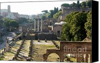 Ruin Canvas Prints - Temple of Vesta. Arch of Titus. Temple of Castor and Pollux. Forum Romanum. Roman Forum. Rome Canvas Print by Bernard Jaubert