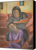 Black Family Pastels Canvas Prints - Tender Headed Canvas Print by Kevin Harris