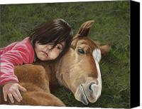 Foal Painting Canvas Prints - Tender Love Canvas Print by Tammy  Taylor
