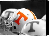 Team Canvas Prints - Tennessee Football Helmets Canvas Print by University of Tennessee Athletics