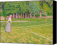 Match Painting Canvas Prints - Tennis at Hertingfordbury Canvas Print by Spencer Frederick Gore