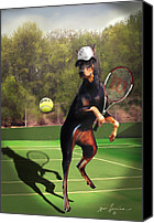 Doberman Prints Canvas Prints - Tennis playing Doberman Canvas Print by Gina Femrite