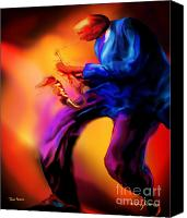 Sax Art Painting Canvas Prints - Tenors Groove Canvas Print by Mike Massengale