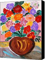 Work On Paper Drawings Canvas Prints - Terra Cotta and Mixed Bouquet Canvas Print by Mary Carol Williams