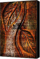 Terra Cotta Digital Art Canvas Prints - Terra-Cotta Raised Relief Leaves Canvas Print by Kathy Clark
