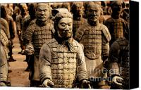 Terra Cotta Digital Art Canvas Prints - Terracotta Warriors China Pavilion EPCOT Walt Disney World Prints Watercolor Canvas Print by Shawn OBrien