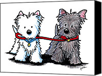 Westie Canvas Prints - Terrier Walking Buddies Canvas Print by Kim Niles