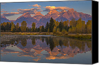 Fine Art Photo Canvas Prints - Teton Morning Mirror Canvas Print by Joseph Rossbach