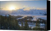 Mountain View Canvas Prints - Teton Winter Sunset Canvas Print by Idaho Scenic Images Linda Lantzy
