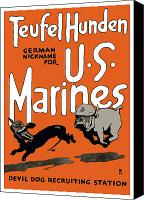 Devil Mixed Media Canvas Prints - Teufel Hunden German Nickname For US Marines Canvas Print by War Is Hell Store