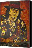 Stevie Ray Vaughan Canvas Prints - Texas Blues Man- SRV Canvas Print by Eric Dee