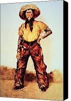 Signed Painting Canvas Prints - Texas Cowboy Canvas Print by Frederic Remington