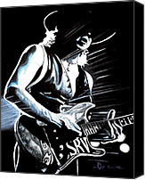 Stevie Ray Vaughan Canvas Prints - Texas Flood Canvas Print by Al  Molina