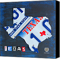 Austin Mixed Media Canvas Prints - Texas License Plate Map Canvas Print by Design Turnpike