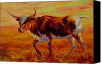 Country Painting Canvas Prints - Texas Longhorn Canvas Print by Marion Rose