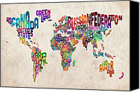 Watercolour Canvas Prints - Text Map of the World Canvas Print by Michael Tompsett
