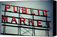 Guidance Canvas Prints - Text Public Market In Red Light Canvas Print by  Reny Preussker