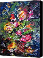 Still Life Tapestries Textiles Special Promotions - Textured Roses Painting Canvas Print by Mario  Perez
