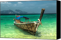 Wooden Tapestries Textiles Canvas Prints - Thai Boat  Canvas Print by Adrian Evans