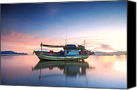 Featured Canvas Prints - Thai fishing boat Canvas Print by Teerapat Pattanasoponpong