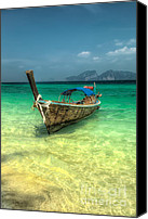 Asia Digital Art Canvas Prints - Thai Longboat  Canvas Print by Adrian Evans