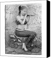 Architecture Reliefs Canvas Prints - Thai style bas-relief decorated on  wall  Canvas Print by Phalakon Jaisangat