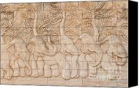 Old Reliefs Canvas Prints - Thai style handcraft of elephant Canvas Print by Phalakon Jaisangat
