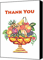 Mosaic Canvas Prints - Thank You Card Fruit Vase Canvas Print by Irina Sztukowski