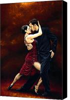 Woman Painting Canvas Prints - That Tango Moment Canvas Print by Richard Young