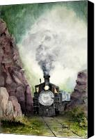 Train Painting Canvas Prints - The 413 Canvas Print by Sam Sidders