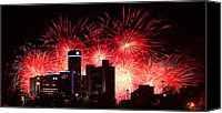 Fireworks Digital Art Canvas Prints - The 54th Annual Target Fireworks in Detroit Michigan - Version 2 Canvas Print by Gordon Dean II
