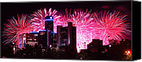 Independence Day Canvas Prints - The 54th Annual Target Fireworks in Detroit Michigan Canvas Print by Gordon Dean II