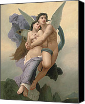 Mythology Canvas Prints - The Abduction of Psyche Canvas Print by William-Adolphe Bouguereau