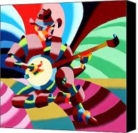 Cubism  Canvas Prints - The Abstract Futurist Cowboy Banjo Player Canvas Print by Mark Webster