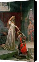 Medieval Canvas Prints - The Accolade Canvas Print by Edmund Blair Leighton