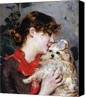 Half-length Painting Canvas Prints - The actress Rejane and her dog Canvas Print by Giovanni Boldini