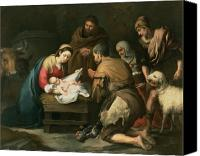 Virgin Canvas Prints - The Adoration of the Shepherds Canvas Print by Bartolome Esteban Murillo