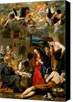 Donkey Painting Canvas Prints - The Adoration of the Shepherds Canvas Print by Fray Juan Batista Maino or Mayno