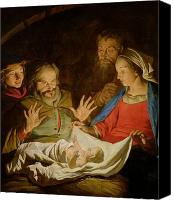 Crib Painting Canvas Prints - The Adoration of the Shepherds Canvas Print by Matthias Stomer