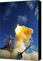 Naval Warfare Canvas Prints - The Aegis-class Destroyer Uss Hopper Canvas Print by Stocktrek Images