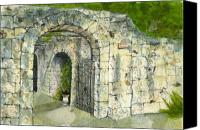 Landmarks Mixed Media Canvas Prints - The Alamo Canvas Print by Lynn Babineau